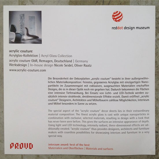 "INTERZUM ""acrylic couture"" Stand, RED DOT AWARD"