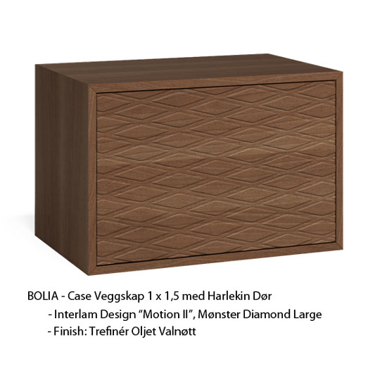 "DIAMOND – LARGE, ""BOLIA"" Veggskap 1 x 1,5, Oljet Walnut"